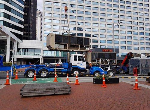 139 Quay Street — Crane lifting HVAC system